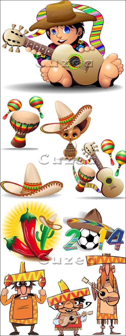 ������������ ���������� ��������� � �������/ Mexicano Cartoon Characters in vector