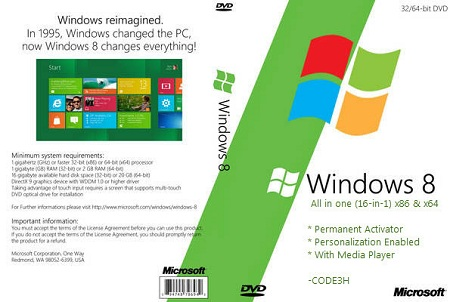 Windows 8 AIO 16in1 (Final Build 9200) & Permanent Activator - CODE3H